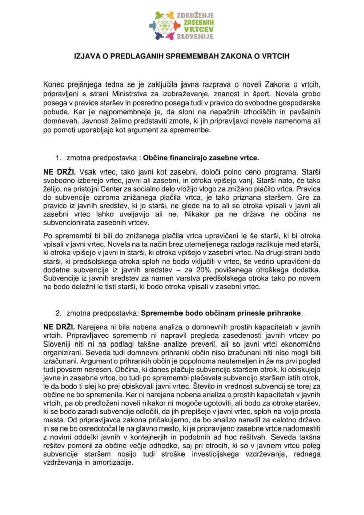 Izjava o predlaganih spremembah zakona o vrtcih